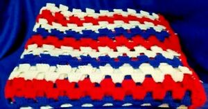 """Vintage Hand Made Afghan Blanket Red White Blue Lap Cover Up  52""""X 70"""""""