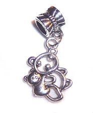 Mother Baby Teddy Bear Zoo Animal Dangle Bead for Silver European Charm Bracelet