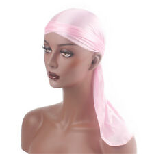 Durag Headwear Headband Pirate Cap Women Hat Smooth Silk Nylon Cap  Solid Color