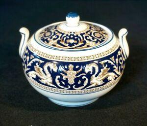 Beautiful Wedgwood Florentine Dark Blue Lidded Sugar Bowl