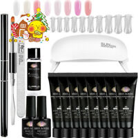 MEET ACROSS Poly Extension UV Gel Kits with 6W USB LED Lamp Acrylic Nail Tips