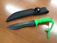 ZOMBIE WAR Fixed Blade Knife Toxic Green Handle Tactical Team Black Blade Saw