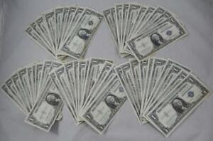 Series 1935 &1957 $1 One Dollar Silver Certificate Blue Seal 50 Note Lot P0364