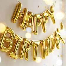 Gold Happy Birthday Foil Balloon Banner Bunting Self-seal Party Decoration