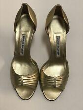 Manolo Blahnik Gold Leather Open Toe Heels