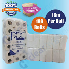 108 Rolls x 16m 2Ply Quilted & Embossed Luxury Toilet Tissue