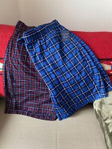 (2) NWT MENS Croft & Barrow MULTI BLUE PLAID Stretch Woven SLEEP SHORTS  SIZE XL