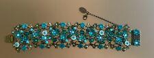 Michal Negrin vintage beautiful blue amazing cuff macrame impressive bracelet