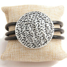 Black Multi Cord Antique Silver Hammered Magnetic Bracelet  Lagenlook Jewellery