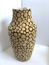 Unique Real Wood Disk Pattern Decorative Vase, 42cm Tall, 20cm Wide