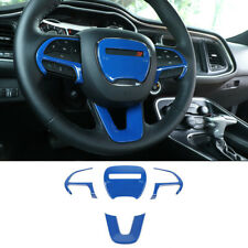 4× Blue ABS Steering Wheel Decorative Cover For Dodge Challenger Charger 2015-21