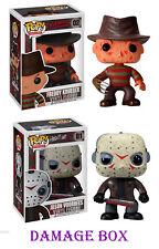 "DAMAGE BOX Funko Pop Freddy Krueger and Jason Voorhees Horror Movie Set 3.75"""