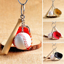 Mini Baseball Keychain Baseball & Glove Bat Key Ring Keyring Chain Holder Gifts