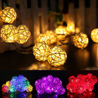 20 LED Rattan Ball String Lights Home Garden Fairy Lamp Wedding Party Decor 2.2m
