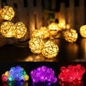 20 LED Rattan Ball String Lights Home Garden Fairy Lamp Wedding Party Decor 2.2m