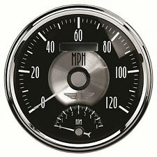 "5"" TACHOMETER/SPEEDOMETER COMBO, 8K RPM/120 MPH, ELECTRIC, PRESTIGE BLACK DIAMON"