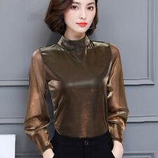 Ladies Mesh T Shirt Stand Collar Sheer Long Puff Sleeve Blouse Elegant Work Top