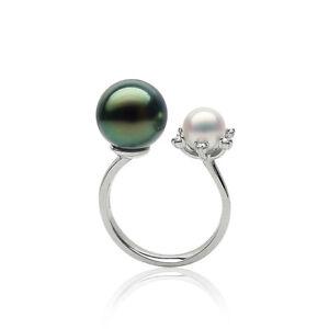 5A+ Green Tahitian Pearl&White Akoya Saltwater Pearl Ring 18K White Gold Diamond