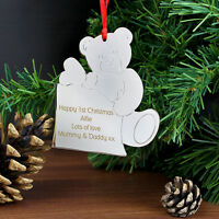 Personalised Engraved Teddy Bear Christmas Tree Decoration Ornaments Child Gift