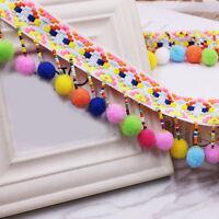 1 Yard Rainbow Tassel Pom Pom Ball Trim Braid Fringe Ribbon Sewing Craft DIY