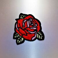 Red Rose Patch — Iron On Badge Embroidered Motif — Flowers Flower Applique
