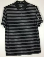 mens nike golf Tour polo shirt Large dri fit Short Sleeve Striped polyester