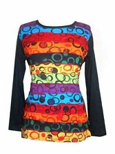 R 262 Rainbow Bubble Printed Boho Gypsy Top Blouse