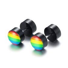 Rainbow Stud Stainless Steel Round Resin Earring Lesbian Gay Pride Earing-Unisex