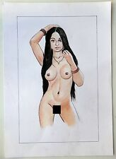 """Nude Indian Beauty watercolor & pencil on card 11.5"""" x 19.5"""" A"""