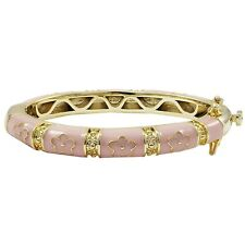 Gold Plated Pink Enamel Pink Flowers Newborn Baby Bangle Bracelet 35mm