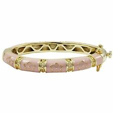 Gold Plated Pink Enamel Pink Flowers Baby Bangle Bracelet 42mm