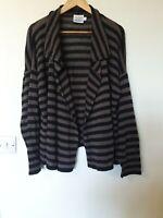 Masai Clothing Linen Blend Striped Open Waterfall Cardigan Top Size L