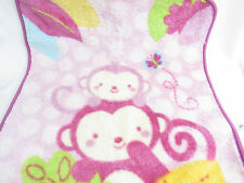 """BEANSPROUT BABY BLANKET PINK MONKEY BUTTERFLY THICK FLEECE 29"""" X 35"""""""
