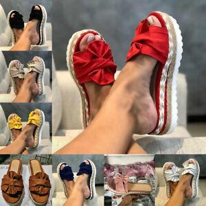Womens Summer Bow Sandals Platform Flip Flops Slippers Ladies Beach Casual Shoes