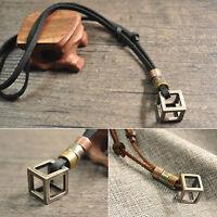 Men's Women's Retro Leather Rope Hollow Cube Luxury Pendant Choker Necklace