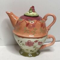 Impatiens Floral Tracy Porter Hand Painted Tea for One 3 pc Teapot Set with Cup