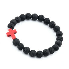 Men Black Lava Rock Stone Turquoise Cross Charm Beaded Elastic Bracelet Jewelry