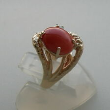 ESTATE 14K YELLOW GOLD PINK CORAL AND DIAMOND RING 3.8 GR  SIZE 4.5