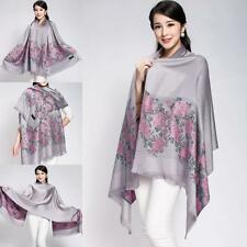 Fashion Scarf Ladies New Silver Floral Shawl Double Sided Pashmina Long Wraps