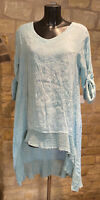 Lagenlook Designed & Made In Italy Lady's Linen Dipped Hem Tunic Dress 1size8-18