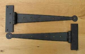 """12"""" CUPBOARD T HINGES HAND FORGED BLACK ANTIQUE IRON"""