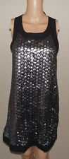 VICTORIA'S SECRET WOVEN SEQUIN EMBELLISHED BOW SHIFT SLEEVELESS DRESS SILVER XS