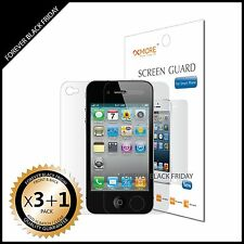 iPhone 4 4S Screen Protector Anti-Scratch Clear 3x Front + 1x Back Cover Shield
