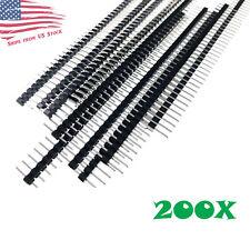 "200pc 40-Pin Male Header 0.1"" 2.54mm Breadboard PCB Strip Connectors USA"