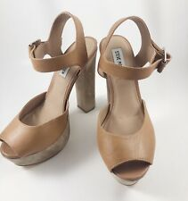 Steve Madden Womens Jillyy Beige Brown Platform Heels 7.5 Leather Ankle Strap
