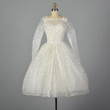 XS 1950s White Lace Wedding Dress Bridal Gown Full Skirt Rockabilly 50s VTG