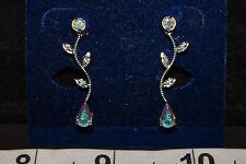 NWT Silvertone/Iridescent rhinestone Long drop pierced earrings, Formal wear