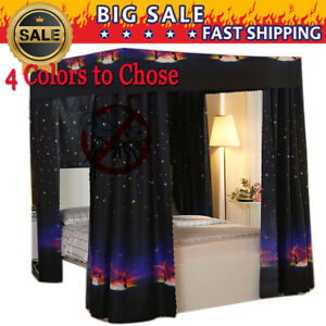 Anti-glar  Mosquito-proof Light-proof 4 Corner Bed Curtain Canopy Netting +Frame
