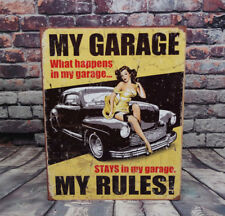 My Garage, My Rules! . Metal Sign for Man Cave, Garage, or Bar