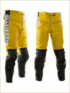 Men Black Motorbiker Cowhide Leather Trouser Riders Pants Biker Leather Pants